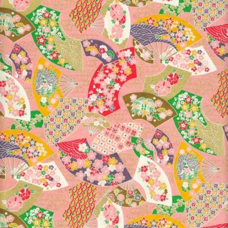 Papier japonais Éventails rose