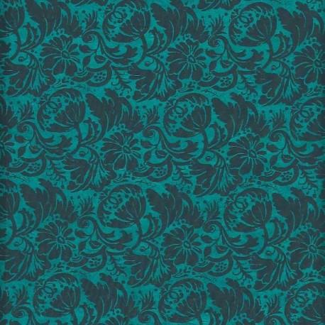 Papier népalais Fleurs de grenade turquoise