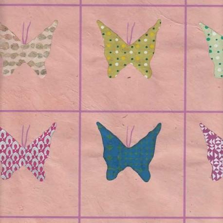 Papier népalais Papillons collés rose tendre