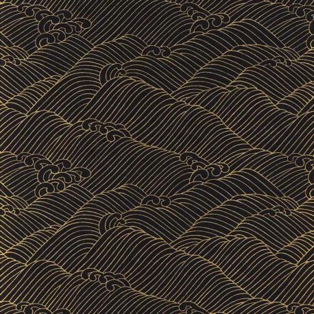 Papier japonais Vagues dorées bleu
