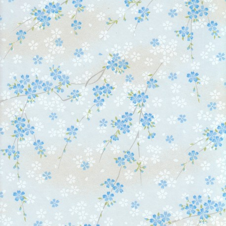 Papier japonais Œillets bleu