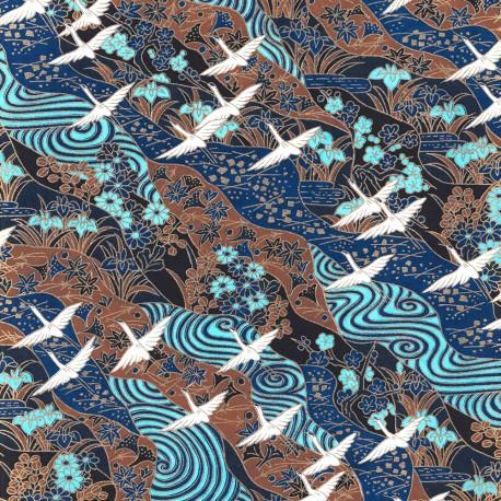 Papier japonais Grues bleu