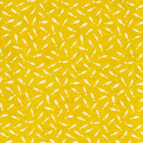 Papier népalais Mini Sardines jaune