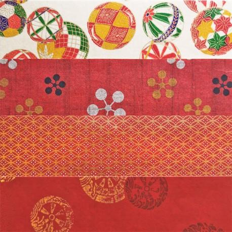 Kit 8 papiers japonais Rouge et Or 15 x15 cm