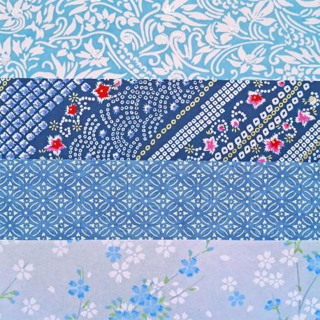 Kit 8 papiers japonais Bleu Clair 15x15 cm