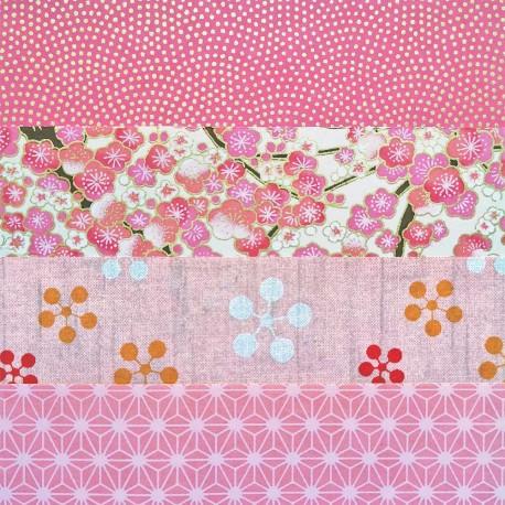 Kit 8 papiers japonais Rose 15x15 cm