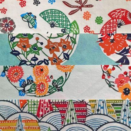 Kit 8 papiers japonais Katazome 15 x15 cm
