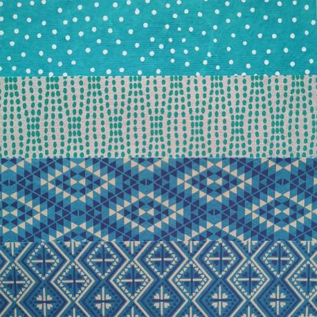 Kit 8 papiers indiens Bleu 15x15 cm