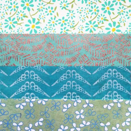 Kit 8 papiers népalais Bleu Vert 15x15 cm