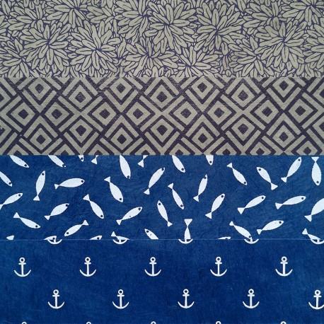 Kit 8 papiers Bleu Marine 15x15 cm