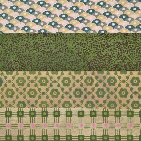 Kit 8 papiers népalais Vert 15x15 cm