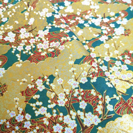 Papier japonais Nuages et fleurs de Prunier