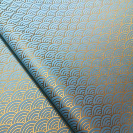 Papier japonais Seigaiha bleu tendre