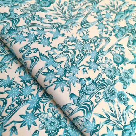 Papier japonais Tori bleuu