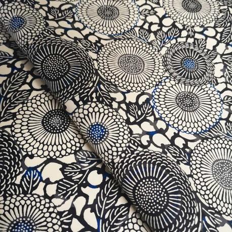 Papier japonais Rosaces florales bleu noir