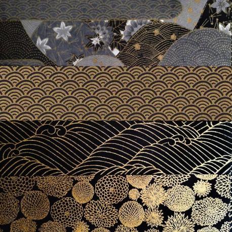Kit 8 papiers japonais Or Noir